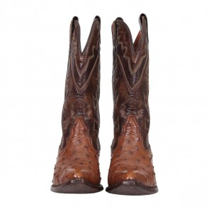 Montana Brown Leather and Ostrich Cowboy Boots