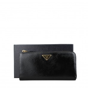 Prada Black Classic Zip Around Wallet